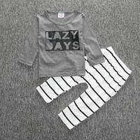 2017 moda carino a selvaggio un neonato ragazzi vestiti 12-24 mesi ragazze lettera di estate pantaloni di cotone a righe