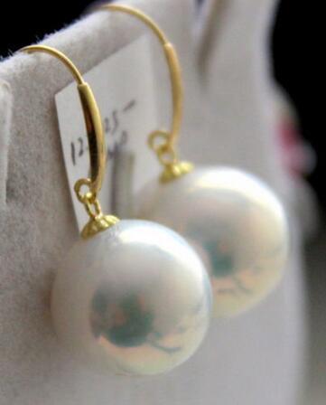 free shipping a pair of 11-12mm natural south sea round white pearl earring  free shipping a pair of 11-12mm natural south sea round white pearl earring