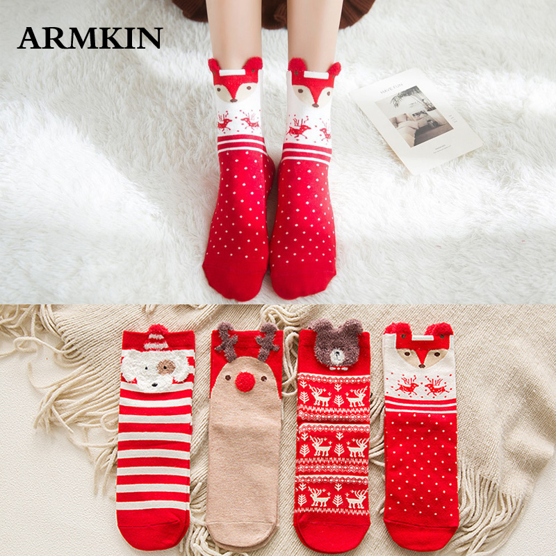 ARMKIN 1 Pair Women Socks Casual Winter Christmas Socks David's Deer Socks Cotton Cartoon Keep Warm Lady Socks Christmas Gift