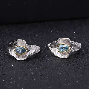 Image 3 - GEMS BALLET 3.02Ct Natural Swiss Blue Topaz 925 Sterling Silver Handmade Callalily Leaf Ring Earrings Jewelry Sets For Women
