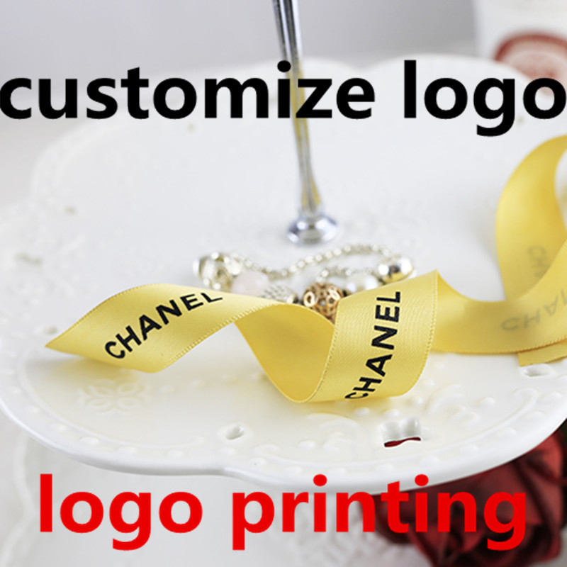 Flat Printing Custom Logo Satin Ribbon FOR Personalized Gifts Boxes Decoration Flower Store Bunch Printing Names And Logos
