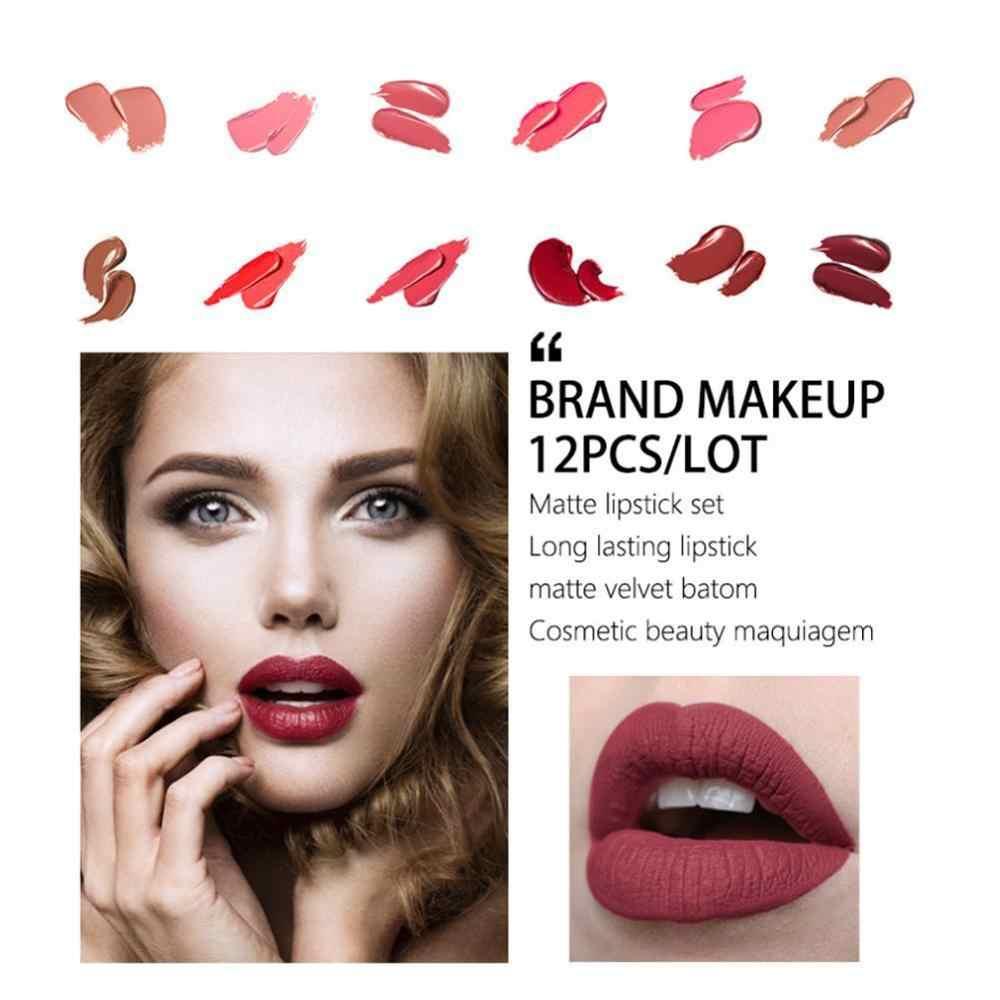 Maquiage 12 stks/partij Lip Kit Matte Lippenstift Waterdichte Voedzaam Fluwelen Lip Stok Tint Naakt Cosmetische Make-up Set