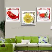 Cópia Da Lona quente 3 pcs Frutas Emoldurado Arte Moderna Da Lona Imagem HD Home Decor Hanging Não Definir 3D Diamante Embroidery0068