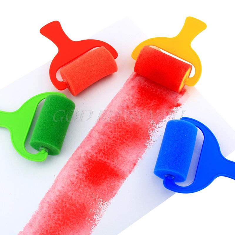 4PCS Sponge Roller Stamper Foam Graffiti Paint Crafts Stamps Kids Toy Children