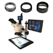 Remote control HDMI VGA Digital13MP microscope camera 3.5X 7X 45X 90X Trinocular stereo 8 LCD IPS monitor