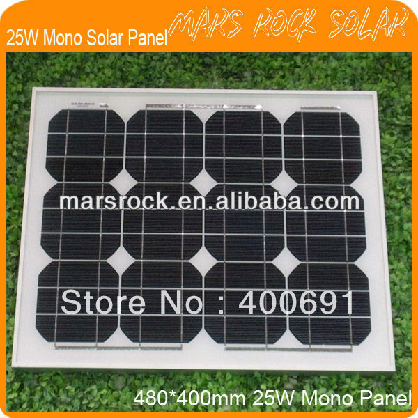 25W 18V Mono PV Solar Panel Module with Special Technology, Nice Appearance, 80% Power output within 25 years, Good Performance