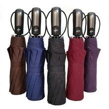 Большой полностью Автоматический ветрозащитный мужской зонт, мужской модный складной зонт от дождя, Женский 10 к Зонт с черным покрытием uv Paraguas