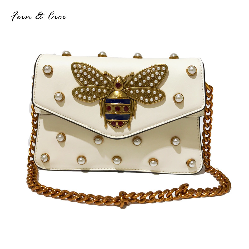 rivets shoulder bag pearl bees gold chains bags women leather messenger bag handbags white and black color 2017 new 2016 new simple color block rivets design women s shoulder bag