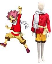 Free Shipping Fairy Tail Dragon Slayers Natsu Dragneel Kid Uniform Anime Cosplay Costume