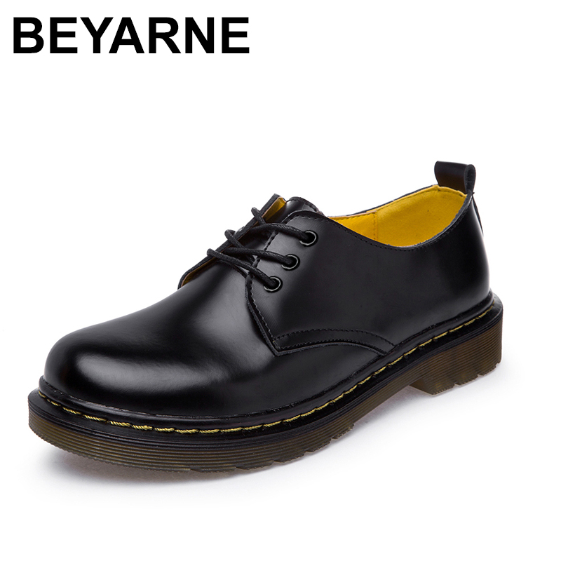 BEYARNE Shoes Woman Cow Leather Martin Ankle Female Casual Shoes Flats 2018 Spring Autumn Lace-Up Zapatos Mujer new black martin shoes fashion spring women shoes flats casual oxford shoes female obuv zapatos mujer