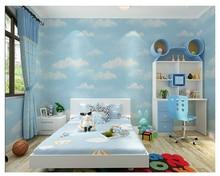купить beibehang Environmental classic blue sky white clouds bedroom non-woven ceiling boy girl fashion papel de parede 3d wallpaper дешево