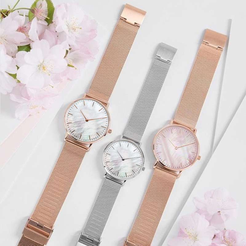 Mavis Hare Pink & White Seashell Mesh Women Watches Pearl Dial Wristwatch With Stainless Steel Mesh Bracelet All Same Size 1pcs