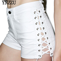 YNZZU Summer Shorts Women 2017 New Arrival White Causal Style Lace Up High Waist Women Slim Demin Shorts YB063