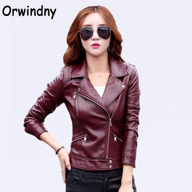 Orwindny Xs 3xl Women S Leather Coat Slim Motorcycle Clothing