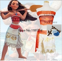 Princess Moana Cosplay Costume For Children Moana Costume With Necklace Adult Women Halloween Costumes For Kids