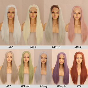 Image 4 - Leeven 24 Silky Straight Hair Synthetic Lace Front Wig 613 Blonde Wigs For Woman Pink Copper Ginger Cosplay Wigs Baby Hair