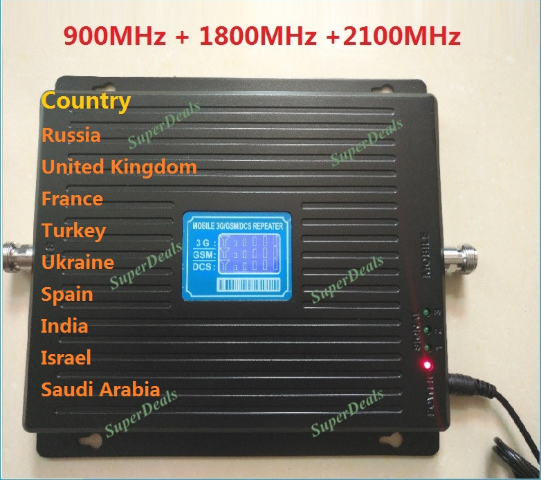 HOT 900 1800 2100 Tri Band signla booster 2G 3G 4G LTE 1800 75dB Mobile Phone