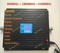 Горячая 2100 1800 900 трехдиапазонный signla booster 2 г 3g 4G LTE 1800 75dB мобильный телефон усилитель сигнала Сотовый телефон повторитель GSM DCS WCDMA