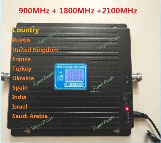 HOT 900 1800 2100 Tri-Band signla booster 2 gam 3 gam 4 gam LTE 1800 75dB Điện Thoại Di Động khuếch Đại tín hiệu Điện Thoại Di Động Repeater GSM DCS WCDMA