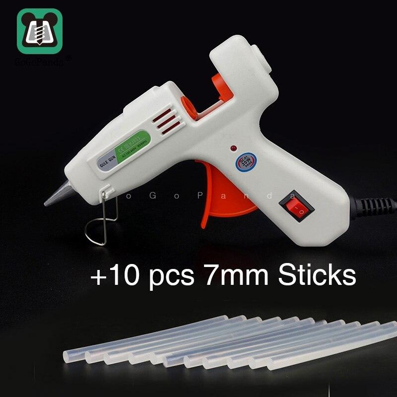 Free Shipping 30W Small DIY Hot Melt Glue Gun Black Sticks Trigger Art Craft Repair Tool with Light HJ-003 100V-240V with Switch