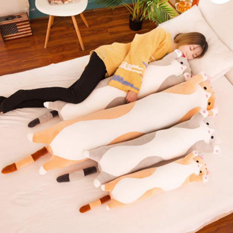 50-110cm Long Cat Pillow Stuffed Plush Cat Toy Soft Cushion Stuffed Animal Cats Pillow Kids Sleeping Kawaii Lovely Gifts For Kid