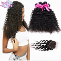 Brazilian deep wave with closure 4 bundles with closure 7A unprocessed Brazilian virgin hair with Closure Tissage Bresilienne