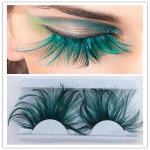 Image 1 - 1 пара темно зеленых перьев 3D густых крылатых натуральных длинных накладных ресниц преувеличенные сценические накладные ресницы инструмент для макияжа YM117
