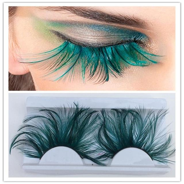 1 pairs Dark green feather 3D thick winged natural long false eyelashes exaggeration stage false eye lashes makeup tool YM117