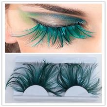 1 par de plumas verdes oscuras 3D espesas alas naturales largas pestañas postizas etapa de exageración pestañas falsas pestañas herramienta de maquillaje YM117