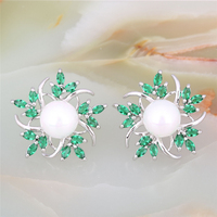 Fashion Simulated Pearl Earrings For Women Cubic Zirconia Flower Earrings Brincos Pendientes Mujer
