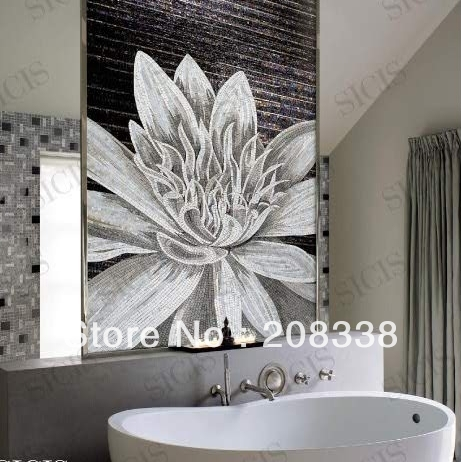 S113 lotus black and white bathroom background wall mosaic cut picture sicis rose