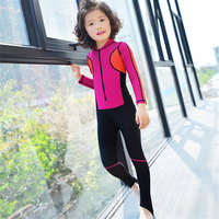2017 One Piece Junior Girls Swimsuit Cute Rainbow Long Sleeve Covered Kids Bathing Suit High Quality