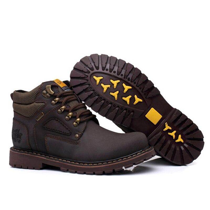 Zapatos dark Fur Tamaño No Cuero Fur 47 light Alta Hombre Marrón yellow Genuino Seguridad Tobillo Botas Otoño Gran 2019 With 38 Hombres De Fur Los Fur Invierno Calidad Yellow Brown wB8T1T