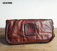 Leacool Vintage 100 Vegetable Tanned Leather Long Bifold Wallet Phone Pocket Purse Card Holder Lady Clutch