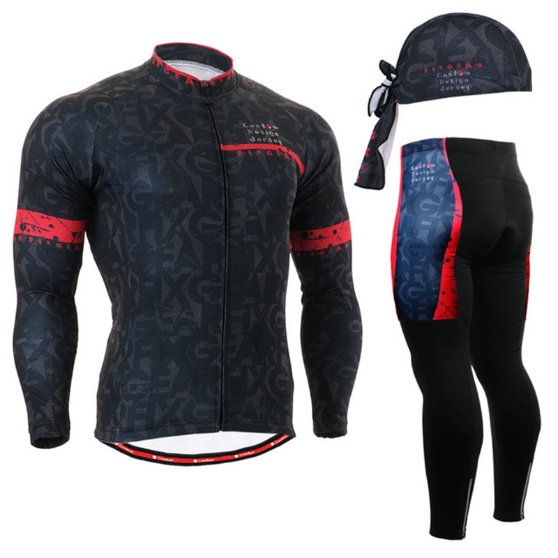 Life on Track Cycling Jerseys Sets Mens Bike Riding MTB Long Sleeve Cycling Suit Black Cycling Team Clothing Spring Autumn