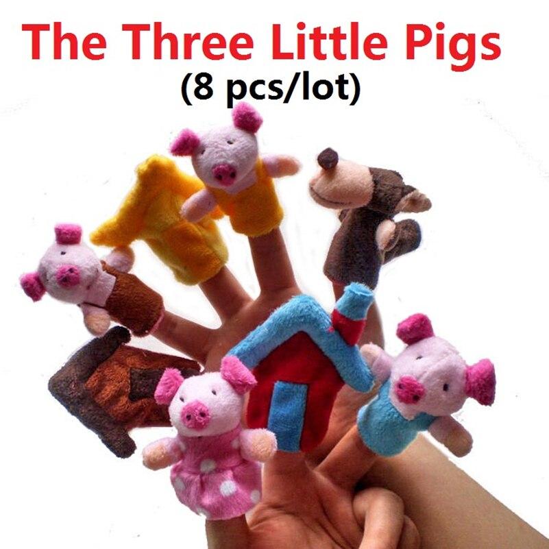 Новинка! Лидер продаж, детские игрушки 8 шт./лот, куклы на пальцы с тремя маленькими свиньями, тканевая кукла, Детская развивающая ручная игру...