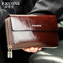 Hot Sale! New 2020 Luxury Shining Oil Wax Cowhide Men Clutch Bag Long Genuine Le