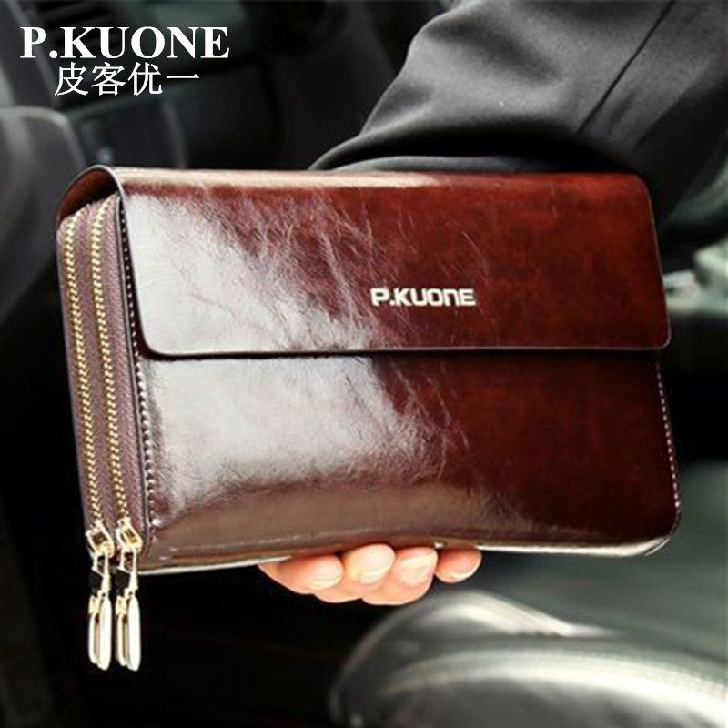 Hot Sale! New 2018 Luxury Shining Oil Wax Cowhide Men Clutch Bag Long Genuine Leather men wallets Double Layer Business Clutch
