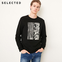 SELECTED New Offset Printing Embroidery Hoodies Mens Pure Cotton Leisure Long sleeved Pullover Sweatshirts C