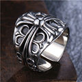 Retro 925 Silver Men's Ring Opening Cross Tide Male Character Thai silver Chrome Style Hearts Index Finger Wide Mustard Hot Sale