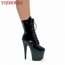 Sexy 15cm, sky-high model stage show shiny ankle boots, high-heeled dancing shoes