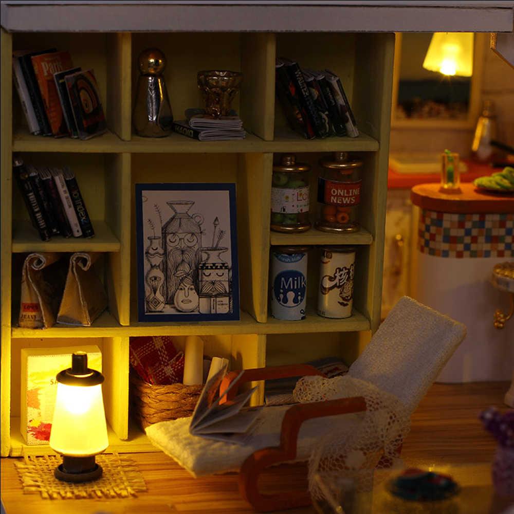 2018 Miniatuur دمية DIY بيت الدمية الخشبية دمية منازل مصغرة دمية الأثاث كيت لعب للأطفال عيد الميلاد هدية