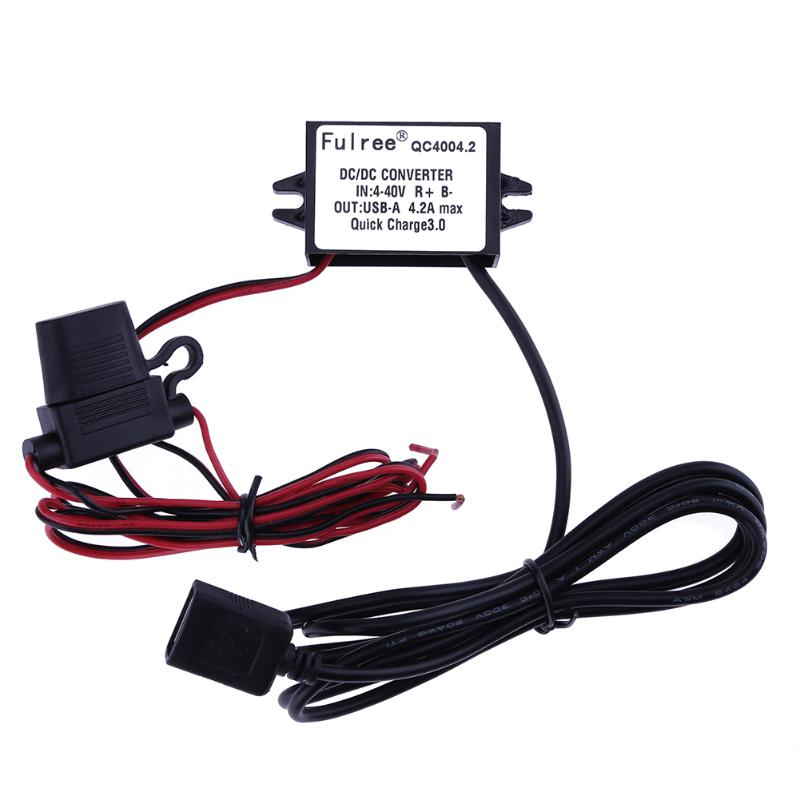 DC/DC 4-40V to 3.7-12V Regulator Module QC 2.0/3.0 Fast Charge Converter with USB-A Output