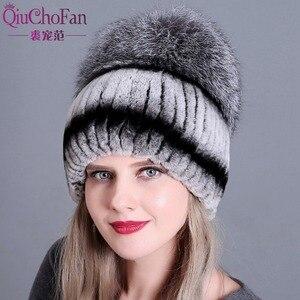 Image 4 - Chapeau en fourrure pour femmes, chapeaux russes de luxe, nouveaux chapeaux russes en fourrure de lapin véritable à rayures, livraison gratuite
