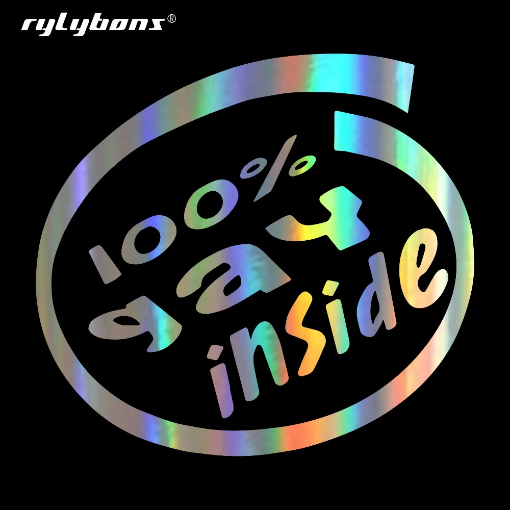 Rylybons Car Sticker 100% GAY INSIDE Funny Car Bumper Stickers and Decals Car Styling Decoration Door Body Window Vinyl Stickers car