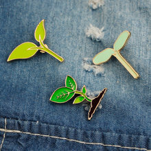 3 Pin Cartoon Sapling Green Leaf Bean Sprouts Brooches for Women Cute Forest Badge Enamel Pin Denim Jackets Jewelry Gifts(China)