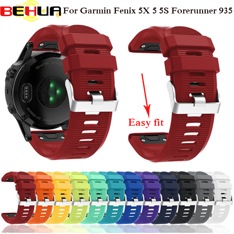 26 22 20MM Watchband for Garmin Fenix 5X 5 5S Plus 3 3 HR Forerunner 935 Watch Quick Release Silicone Easy fit Wrist Band Strap image