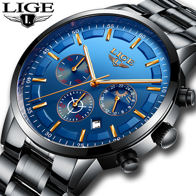 цены на Top Luxury Brand LIGE Men's Watches Fashion Business Quartz Watch Men Sport Full Steel Waterproof Wristwatch relogio masculino