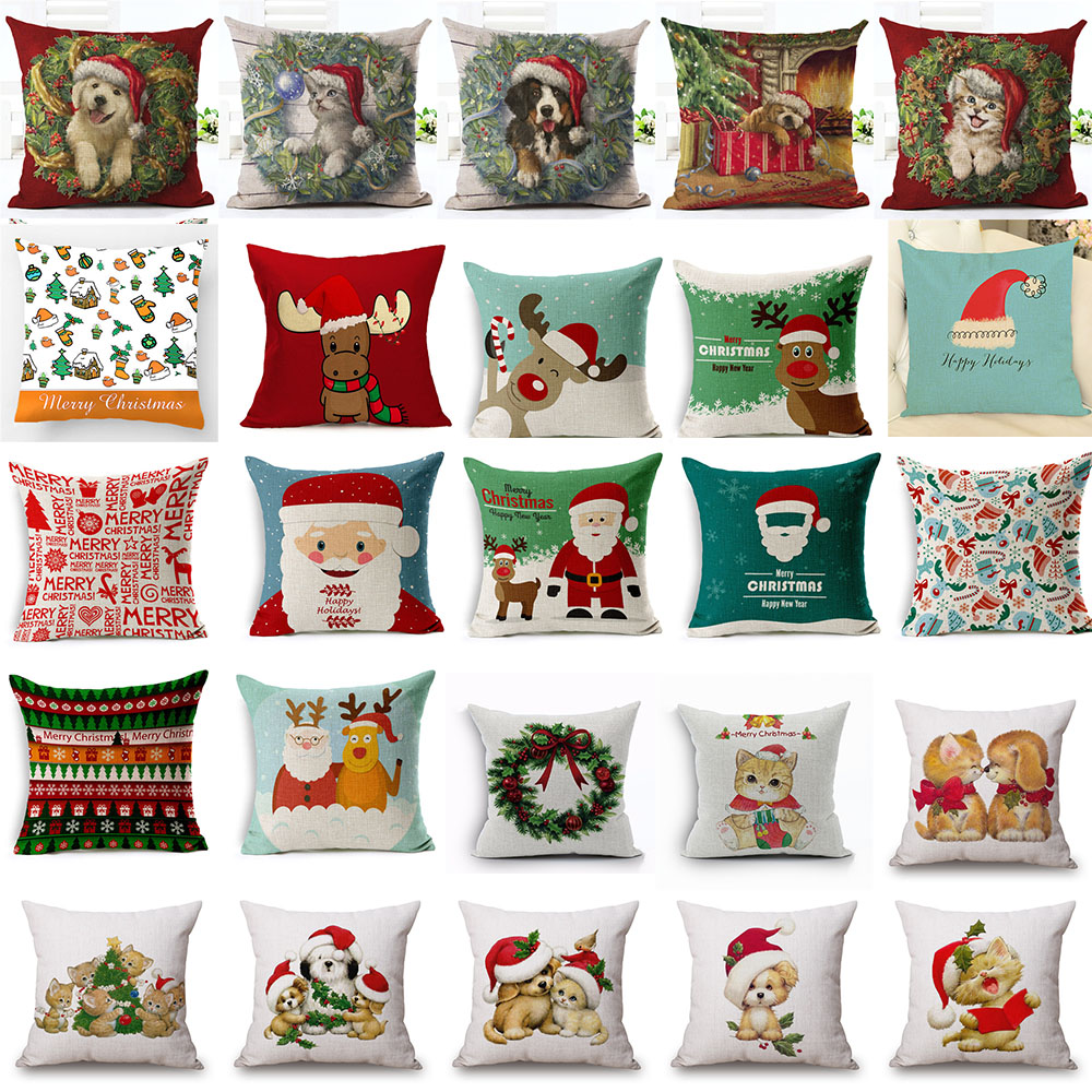 merry christmas cushion cover housse de coussin noel christmas santa claus cute pet dog cat. Black Bedroom Furniture Sets. Home Design Ideas