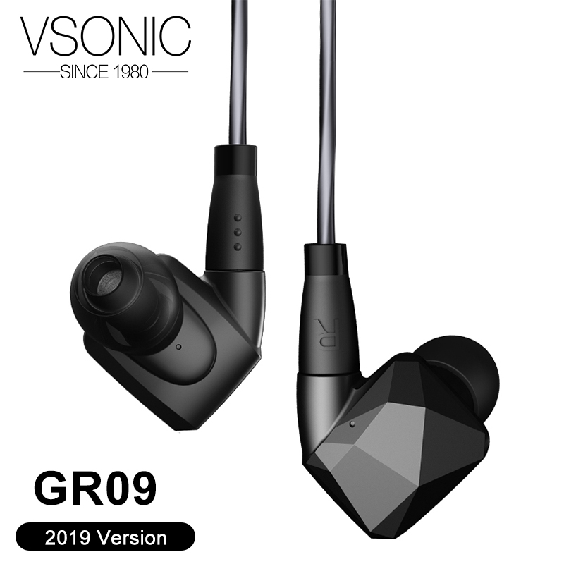 VSONIC GR09 2019 Dynamic Driver HIFI In Ear Earphone Professional Noise Isolation IEM with MMCX Detachable
